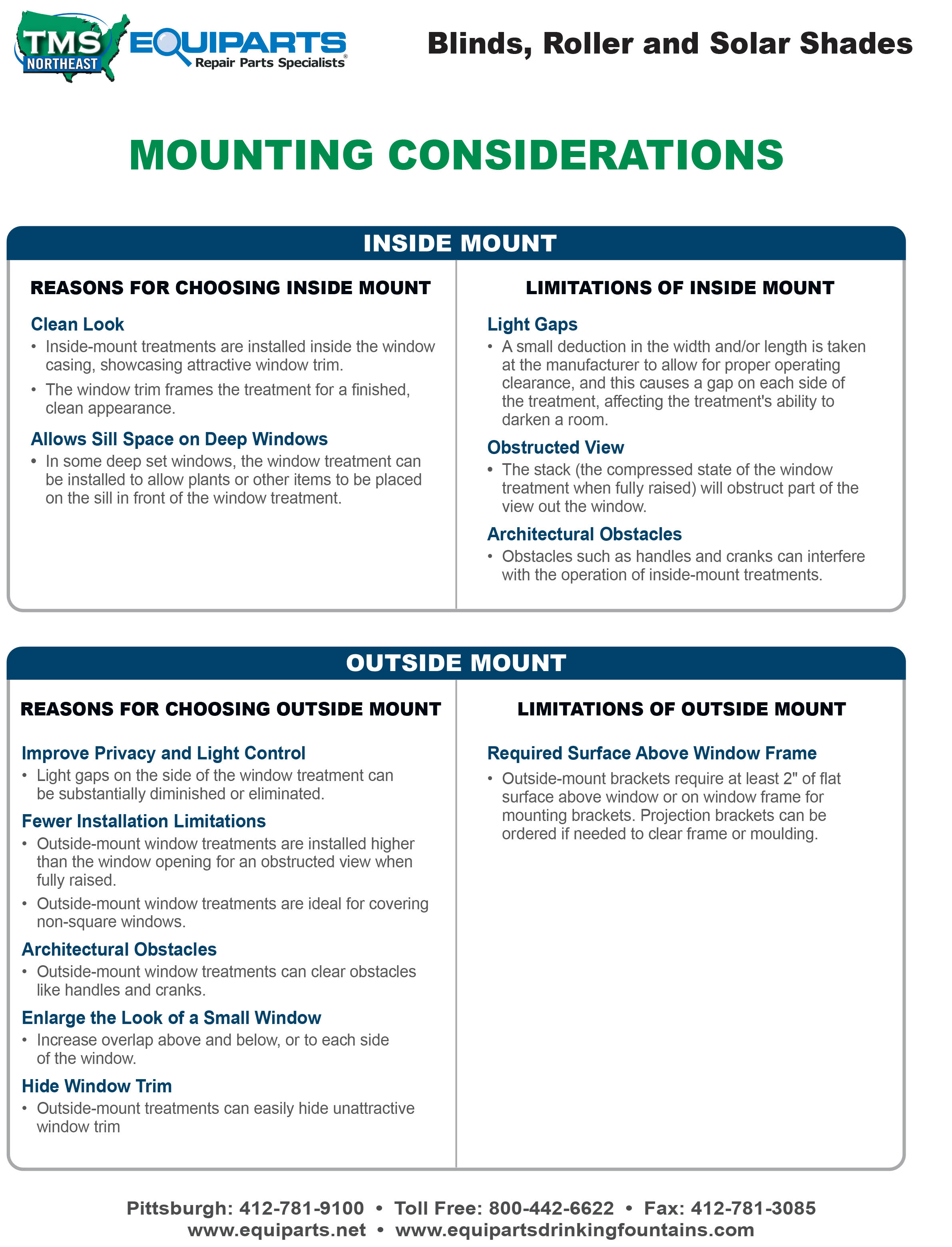 Window Covering Mounting Considerations Worksheet